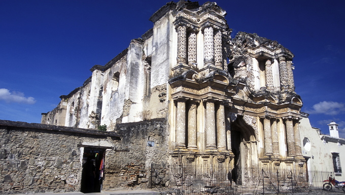 the old city in the town of Antigua in Guatemala in central America.