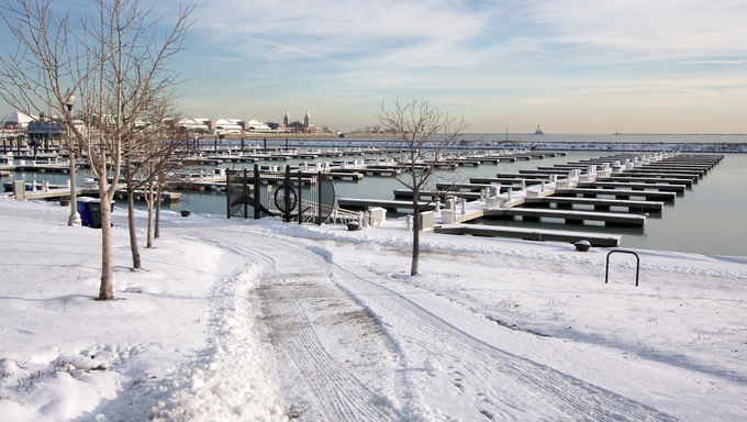 Empty Yacht Harbour on Lake Michigan in Chicago After Winter Snow