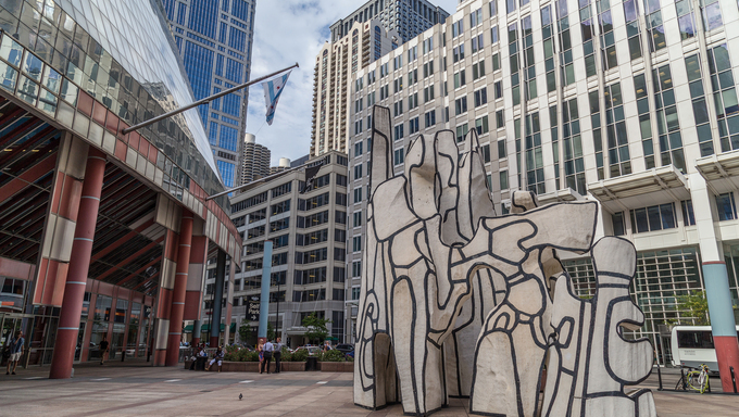 Chicago, IL/USA - circa July 2015: Monument With Standing Beast Sculpture in Downtown Chicago, Illinois