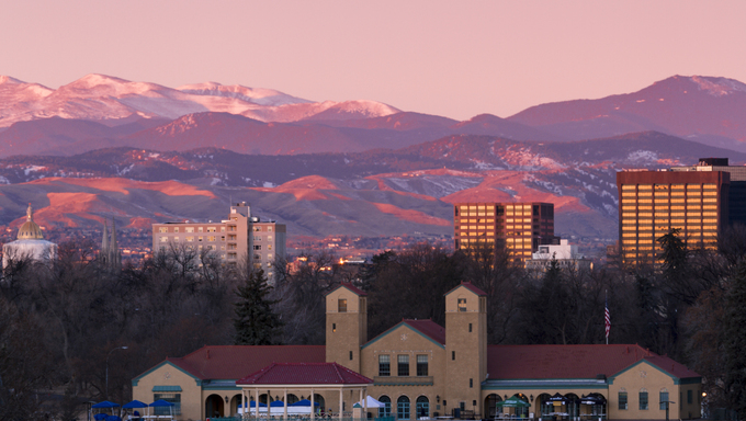 Denver skyline at sunrise in the winter.