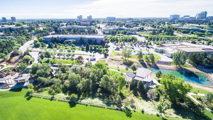 Aerial view of urban park in Denver, Colorado.