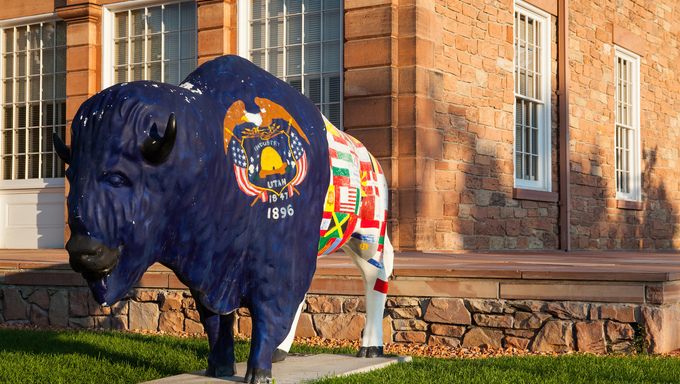 SALT LAKE CITY - JULY 2013 - Painted statue of Buffalo in front of Council Hall  building on July 19, Salt Lake City, Utah