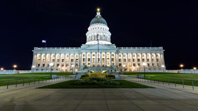 Salt Lake City Capitol at night