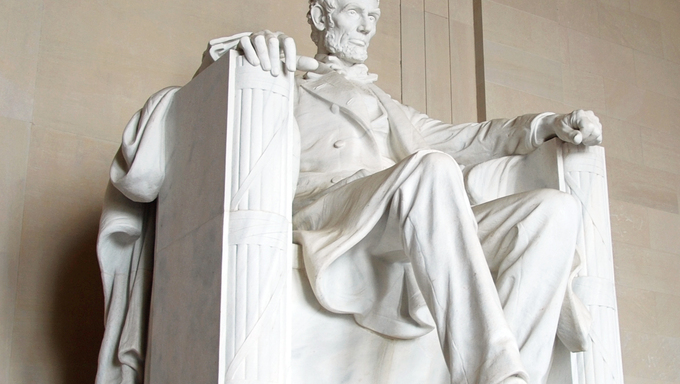 Abraham Lincoln statue in the Lincoln Memorial in Washington DC.