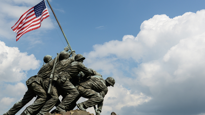 WASHINGTON DC - AUGUST 20: Iwo Jima statue in Washington DC on August 20, 2012. The statue honors the Marines who have died defending the US since 1775.
