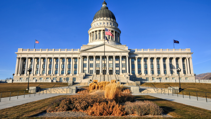 State Capitol Building in Salt Lake City, Utah. The building houses the chambers of the Utah State Legislature, the offices of the Governor and Lieutenant Governor of Utah.