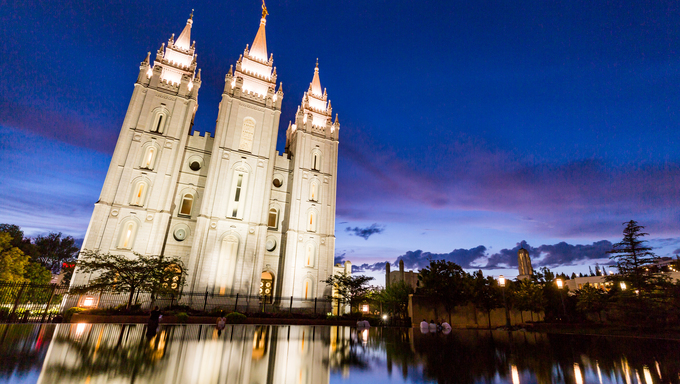 SALT LAKE CITY, UTAH - AUGUST 30: Exterior views of the The Church of Jesus Christ of Latter-day Saints by sunset on August 30, 2015. Iis a Christian restorationist church in Salt Lake City.