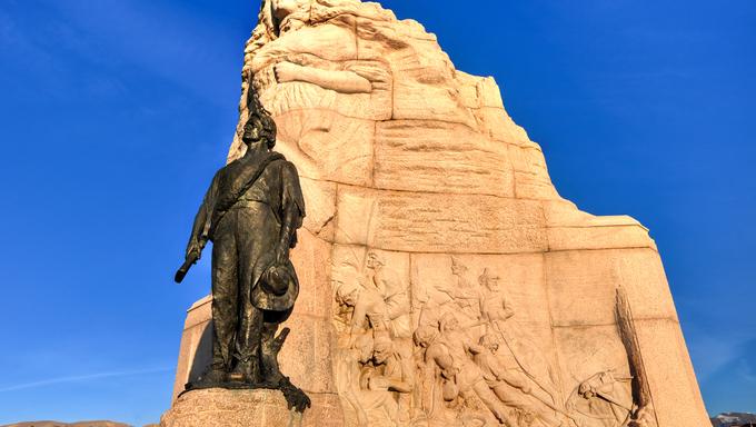 The Utah State Capital building Mormon Battalion Monument in Salt Lake City, Utah.