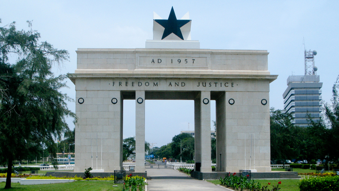 Front view of the Freedom and Justice Arch monument in the capital of Ghana