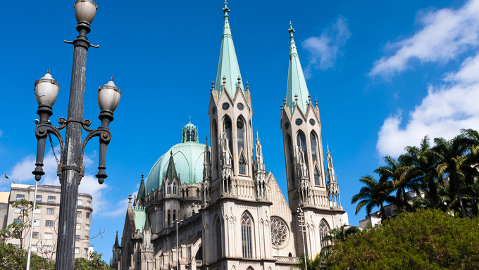 Se Cathedral, ground zero of the city of Sao Paulo, Brazil.