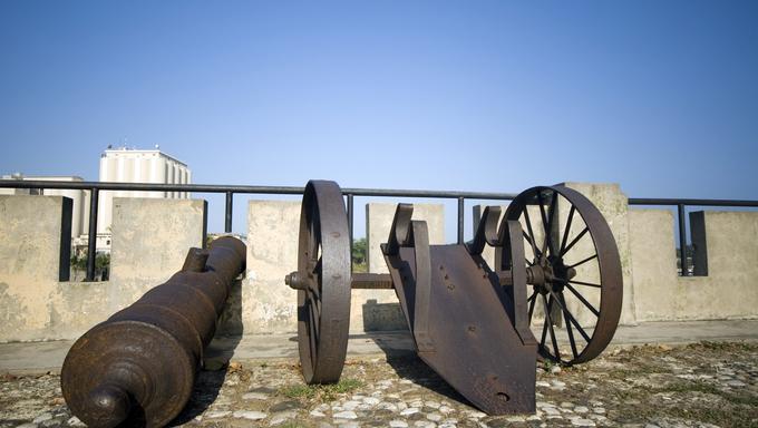 cannons on las damas street santo domingo dominican republic next to relojs del sol
