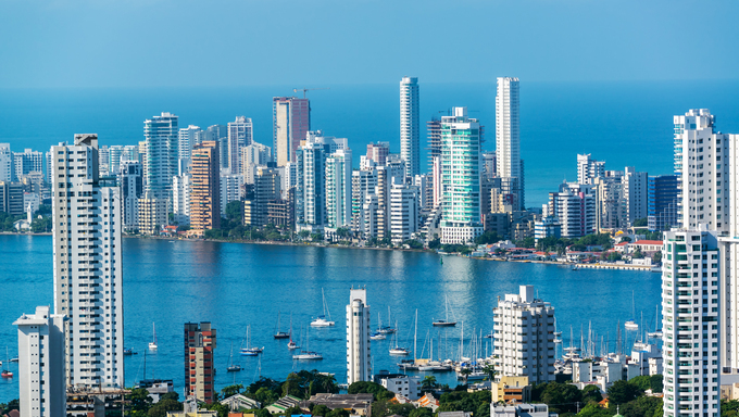 View of skyscrapers in the Bocagrande neighborhood of Cartagena, Colombia