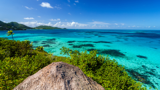 View of Caribbean Sea and Providencia as seen from the top of Crab Caye in San Andres y Providencia, Colombia