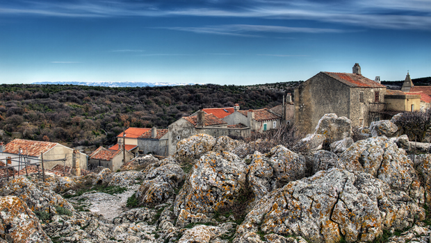 Lubenice,island Cres. Croatian village on the rocky Adriatic coast.HDR techinique.