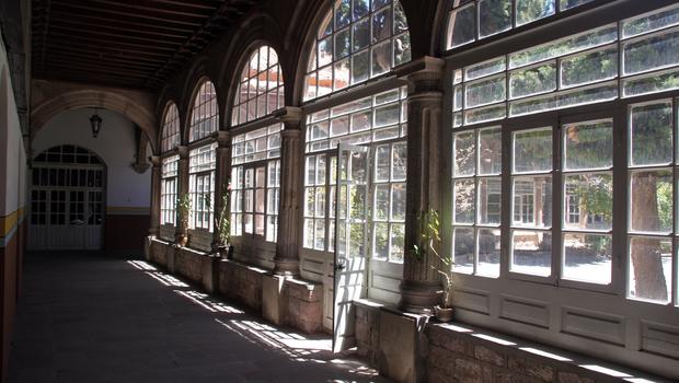 Corridor inside old monastery in Potosi, Bolivia