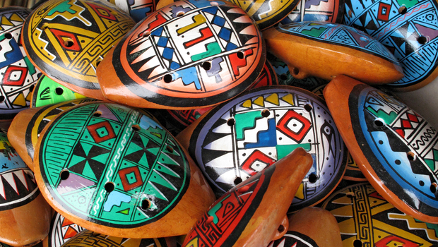 Ocarina, an aboriginal musical instrument made of clay.
