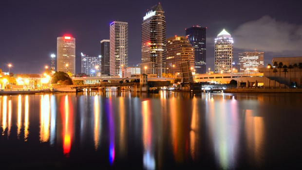 Downtown Tampa, Florida along the Hillsborough River.