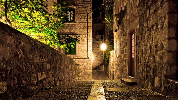The street of Dubrovnik city at night, Croatia