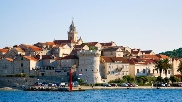 Scenic view of city of Korcula on the island of Korcula in Croatia