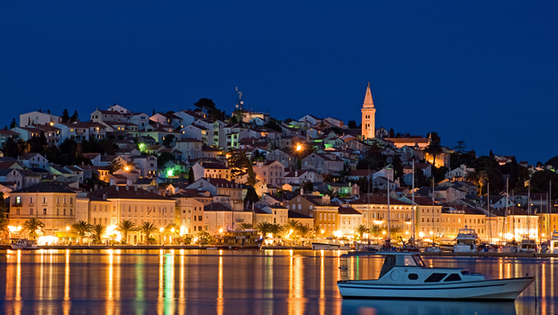 Evening View of the largest city on the island Losinj,Croatia. Long blend exposure.