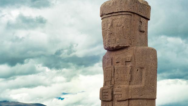 Monolith at Ruins of Tiwanaku, Bolivia