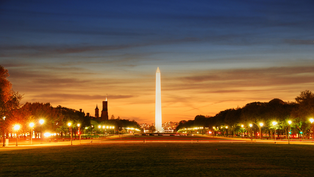 National mall illuminated at night, Washington DC.