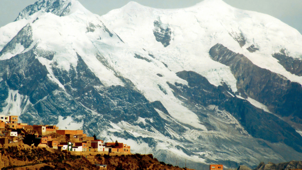 Periphery of La Paz city in Bolivia, South America, with snow mountains in the background