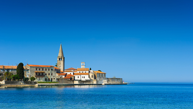 Porec - old Adriatic town in Croatia, Istria region. Popular touristic destination.