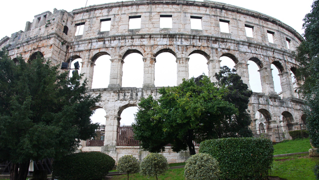 details of roman amphitheater (Colosseum) in Pula