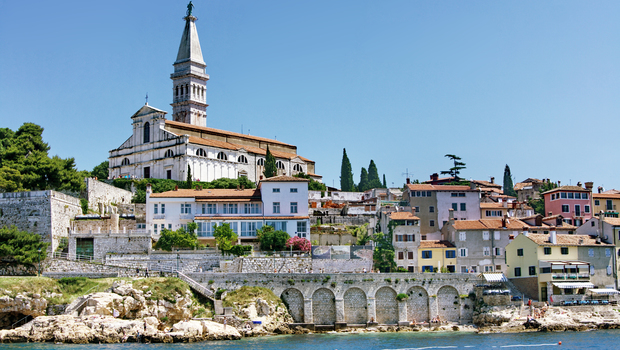 View on ancient town Rovinj from sea, summer