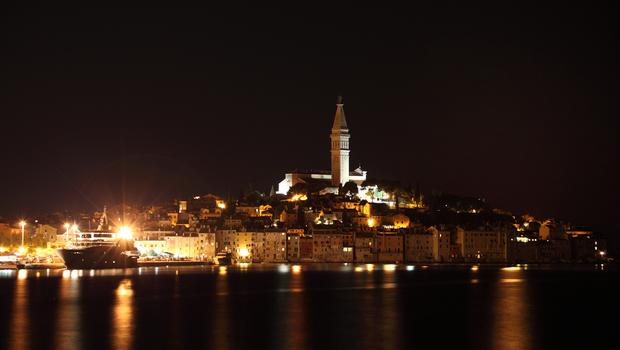 The old town of Rovinj at night, Croatia