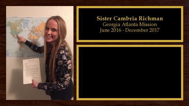June 2016 to December 2017<br/>Sister Cambria Richman