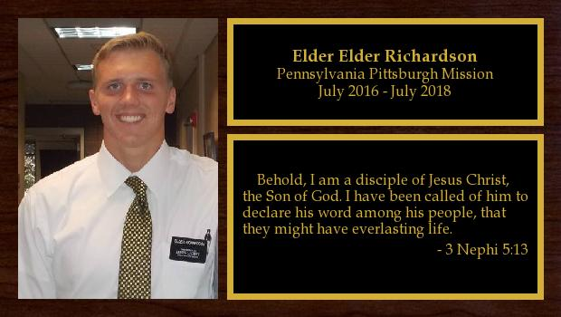July 2016 to July 2018<br/>Elder Daniel Richardson