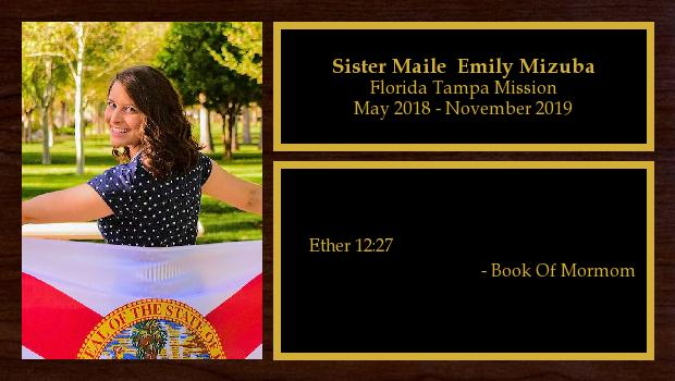 May 2018 to November 2019<br/>Sister Maile Emily Mizuba