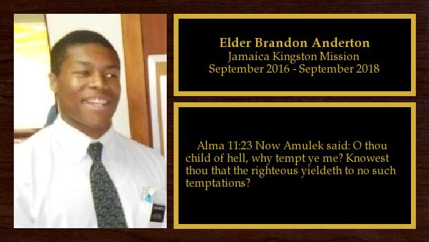 September 2016 to September 2018<br/>Elder Brandon Anderton