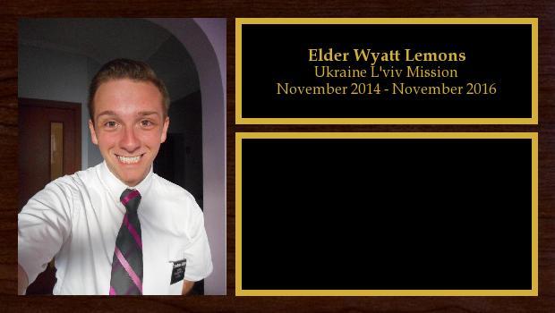 November 2014 to November 2016<br/>Elder Wyatt Lemons