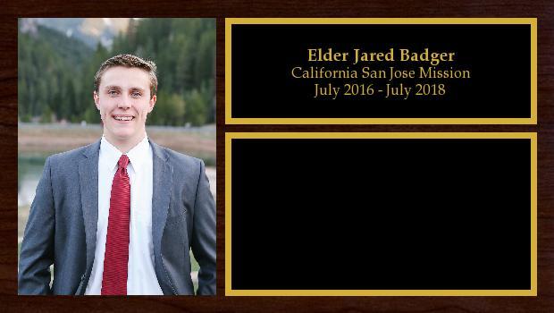 July 2016 to July 2018<br/>Elder Jared Badger