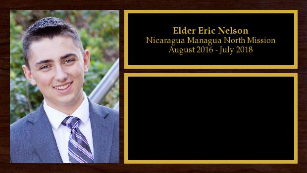August 2016 to July 2018<br/>Elder Eric Nelson