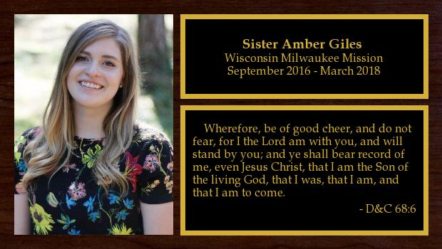 September 2016 to March 2018<br/>Sister Amber Giles