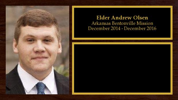 December 2014 to December 2016<br/>Elder Andrew Olsen