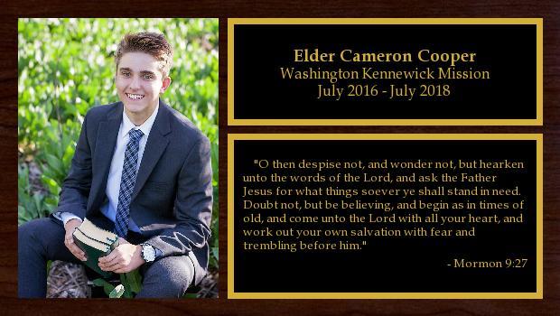 July 2016 to July 2018<br/>Elder Cameron Cooper