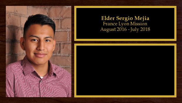 August 2016 to July 2018<br/>Elder Sergio Mejia