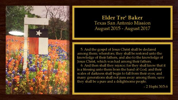 August 2015 to August 2017<br/>Elder Tre' Baker