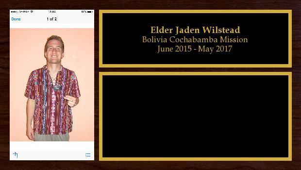 June 2015 to May 2017<br/>Elder Jaden Wilstead