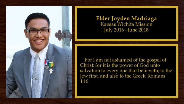 July 2016 to June 2018<br/>Elder Joyden Madriaga
