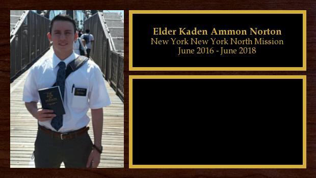June 2016 to June 2018<br/>Elder Kaden Ammon Norton