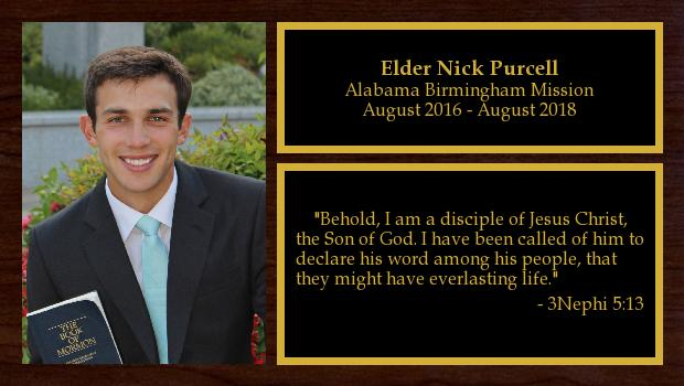 August 2016 to August 2018<br/>Elder Nick Purcell