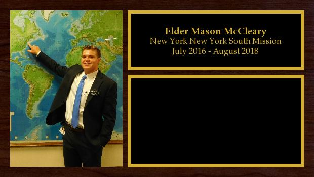 July 2016 to August 2018<br/>Elder Mason McCleary
