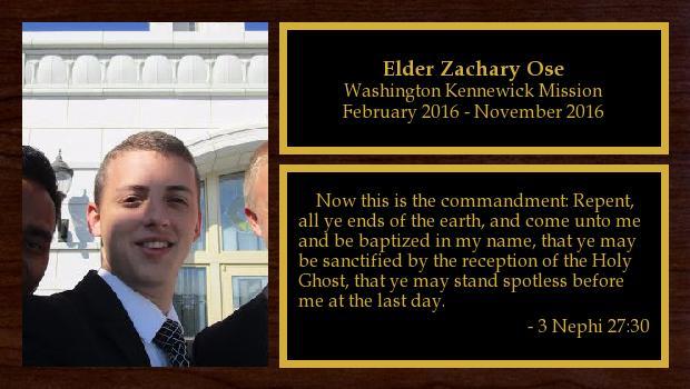 February 2016 to November 2016<br/>Elder Zachary Ose