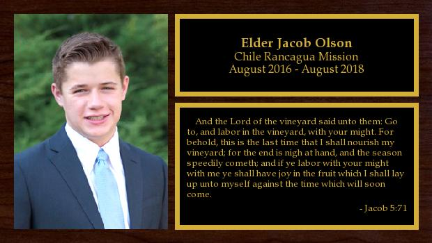 August 2016 to August 2018<br/>Elder Jacob Olson
